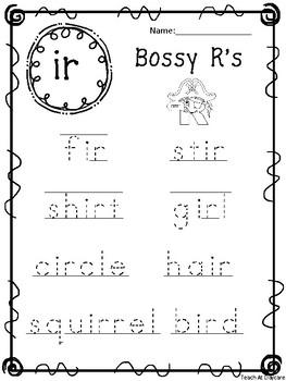10 Bossy R Tracing Worksheets. Kindergarten-1st Grade ELA.