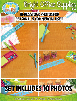 10 Bright Office Supplies Stock Photos Pack — Includes Commercial License!
