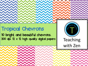10 Bright and Cheery tropical chevrons