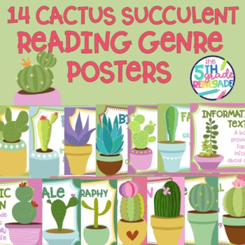10 Cactus Succulent Themed Reading Genre Posters