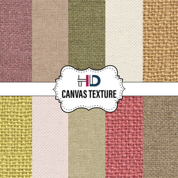 10 Canvas Textured Digital Background Papers Colorful Ivory Cream Brown Green