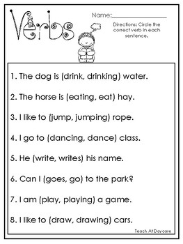 Correct Verbs Worksheets & Teaching Resources | Teachers Pay ...