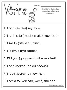 10 Choose the Correct Verb Printable Worksheets in PDF file.1st Grade-2nd Grade.