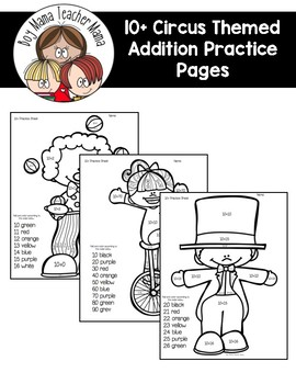 10+ Circus Themed Additon Practice Pages