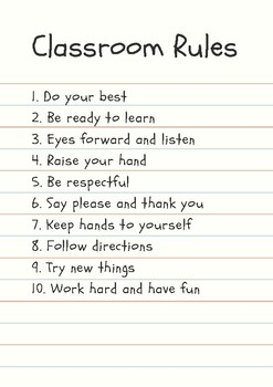 10 Class Rules for Elementary School