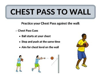 10 Classic Basketball Station Activity Signs for Physical Education - PE Class