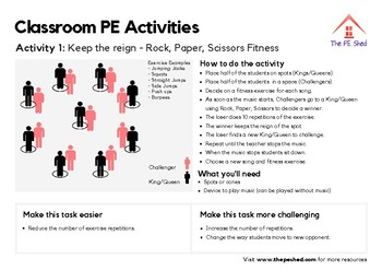 10 Classroom PE Activities - Resource Pack