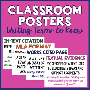 10 Classroom Posters (Writing Terms to Know)
