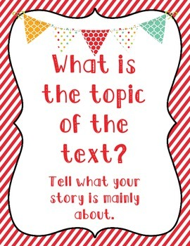 10 Close Reading Question Posters Stripes and Bunting Pennants