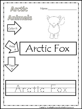 10 Color, Read, Trace, and Box Write Arctic Animals Worksheets ...