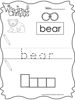 10 Color, Read, Trace, and Box Write Woodland Animals Work