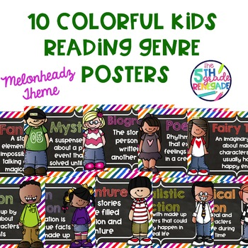10 Colorful Kids Themed Reading Genre Posters