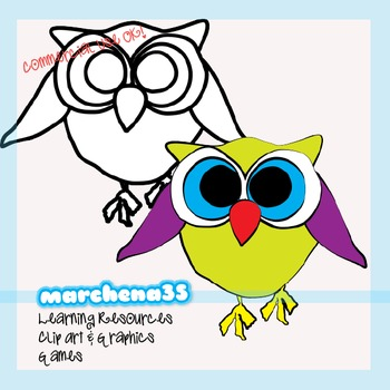 10 Colorful Owls Clip Art for Teachers - Clipart Commercial Use OK