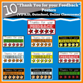 10 Colorful Thank You Feedback Posters (VIPKID, Outschool,