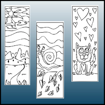 Doodle Coloring Bookmarks #2
