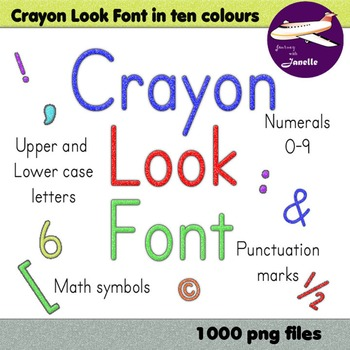 Alphabet Clip Art 10 Colors in Crayon Look + Numerals Punctuation & Math Symbols