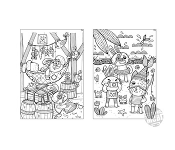 10 Colouring In Sheets - Pirate Rabbit & his motley crew - DIY Printable