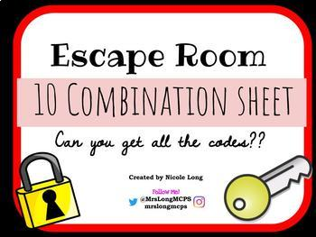 10 Combination Code Sheet for Escape Room Classroom Games
