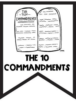 10 Commandments Black and White Banners for Easy Printing Save on Ink!