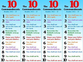 10 Commandments Bookmark