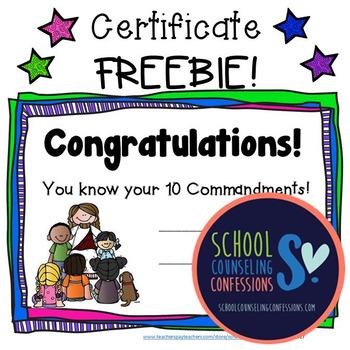 10 Commandments Certificate FREEBIE!