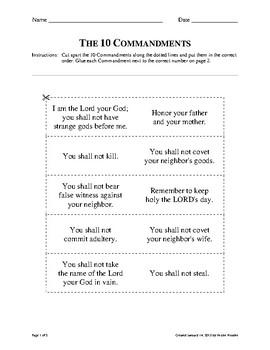10 Commandments Cut and Sort