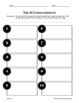 10 Commandments Cut and Sort