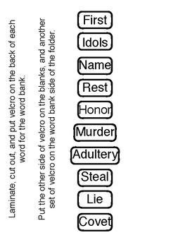 10 Commandments File Folder Game