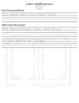 10 Commandments Handwriting Practice - Luther's Small Catechism