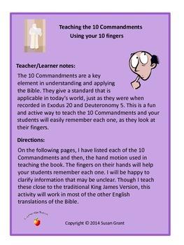 10 Commandments Memorization Activity