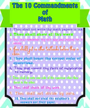 10 Commandments of Math