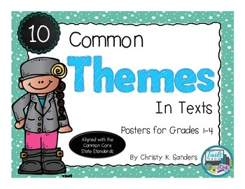 10 Common Themes In Texts: Posters for Grades 1-4-Sparkly Edition