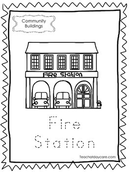 10-Community Buildings Tracing Worksheets. Preschool-Kindergarten.