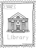 10-Community Buildings Tracing Worksheets. Preschool-Kindergarten.