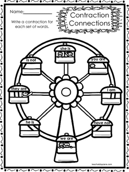 10 Contraction Connections Worksheets.  K-1st Grade Literacy Worksheets.