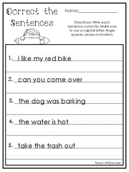 10 Correct the Sentences Printable Worksheets in PDF file.1st Grade-2nd Grade.