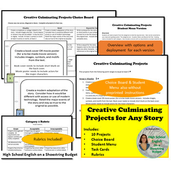 10 Creative Culminating Projects for Any Novel or Short Story - PDF
