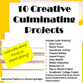 10 Creative Culminating Projects for Any Novel or Short Story - PDF Bundle