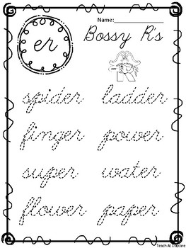 10 Cursive Bossy R Tracing Worksheets. Kindergarten-2nd Grade ELA.