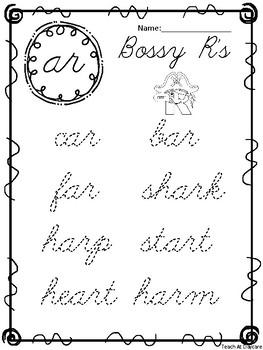 10 Cursive Bossy R Tracing Worksheets. Kindergarten-2nd Grade ELA.