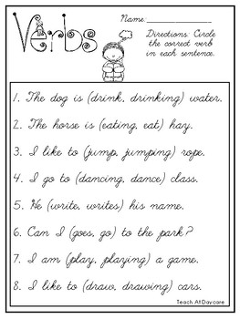 10 Cursive Choose the Correct Verb Worksheets. Kindergarten-2nd Grade ELA.
