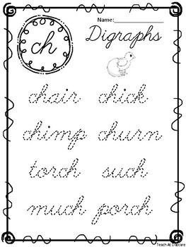 10 Cursive Digraph Tracing Worksheets. Kindergarten-2nd ...