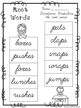 10 Cursive Root Word Worksheets. Kindergarten-2nd Grade ELA. | TpT