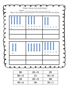 10 Cut and Past Activities to Practice Place Value for Numbers 20 - 50