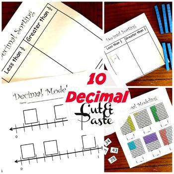 10 Cut and Paste Decimal Activities