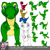 10 Cute Cartoon Style T-Rex Clip Art Images / Color and Bl