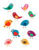 10 Cute Colorful Birds Vector Clip Art | Animal Nature Graphics | PNG, AI, EPS
