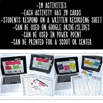 10 DIGITAL or PRINTABLE Place Value Activities {3-Digit Numbers}