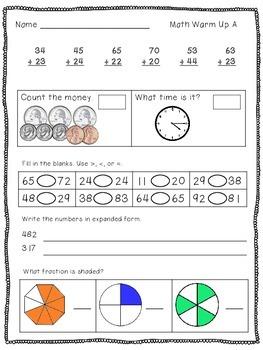 10 Daily Math Warm-Ups for 2nd Grade