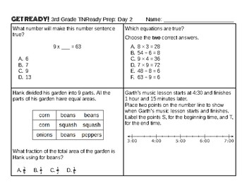 10-Day 3rd Grade Tennessee TNReady Test Prep SAMPLER (2 pages with answer key)